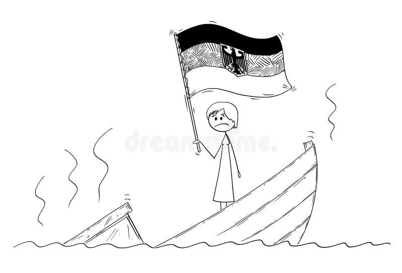 Κινούμενα σχέδια του πολιτικού ή του καγκελαρίου Standing Depressed θηλυκών ή γυναικών στη βυθίζοντας βάρκα που κυματίζει τη σημα διανυσματική απεικόνιση