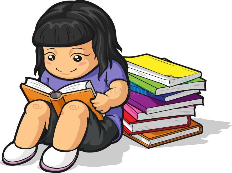 Κινούμενα σχέδια του σπουδαστή κοριτσιών που μελετά & που διαβάζει το βιβλίο διανυσματική απεικόνιση