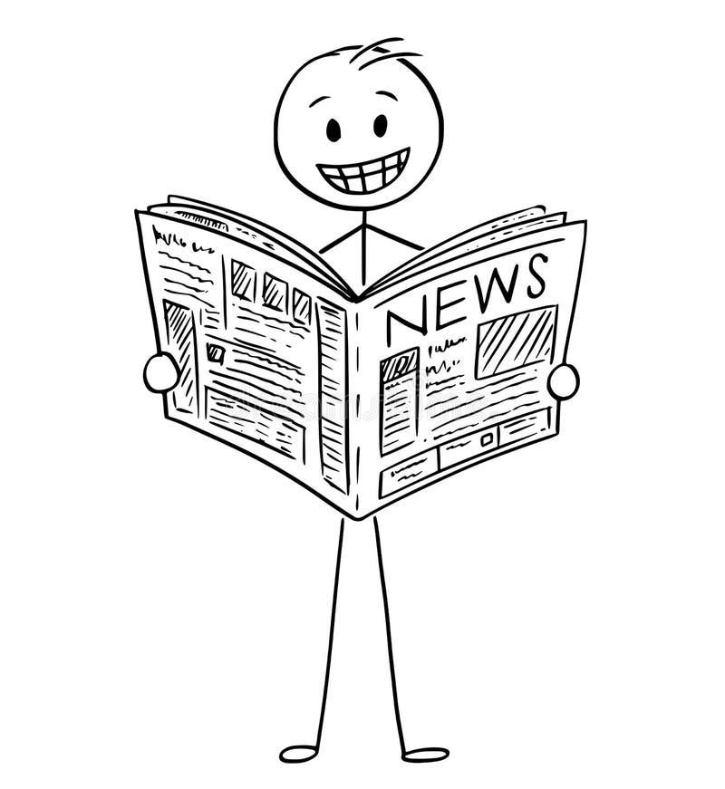 Κινούμενα σχέδια του χαμογελώντας επιχειρηματία που διαβάζει τις καλές ειδήσεις στην εφημερίδα απεικόνιση αποθεμάτων