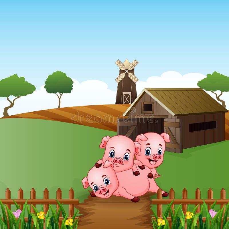 Κινούμενα σχέδια τρία μικροί χοίροι που παίζουν στο αγροτικό υπόβαθρο απεικόνιση αποθεμάτων