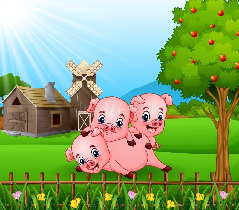 Κινούμενα σχέδια τρία μικροί χοίροι που παίζουν στο αγροτικό υπόβαθρο ελεύθερη απεικόνιση δικαιώματος