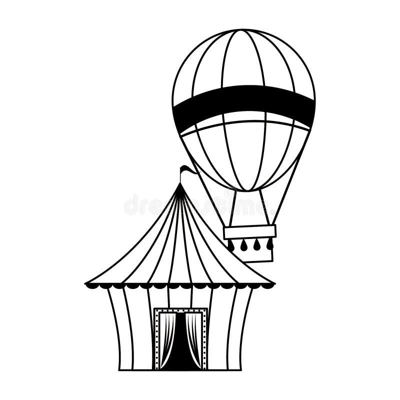 Κινούμενα σχέδια φεστιβάλ τσίρκων καρναβαλιού σε γραπτό απεικόνιση αποθεμάτων