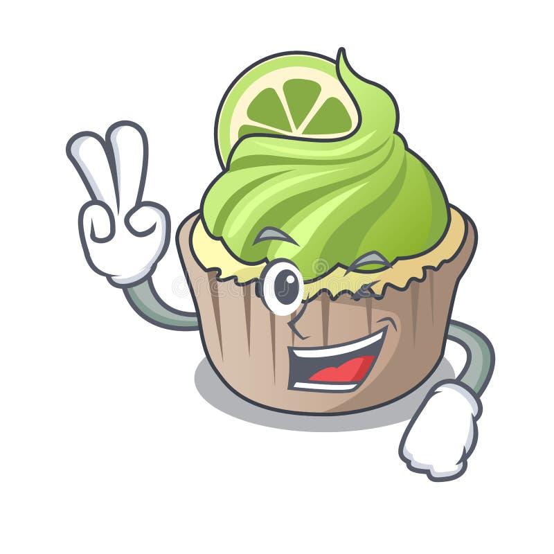 Κινούμενα σχέδια χαρακτήρα λεμονιών δύο δάχτυλων cupcake διανυσματική απεικόνιση