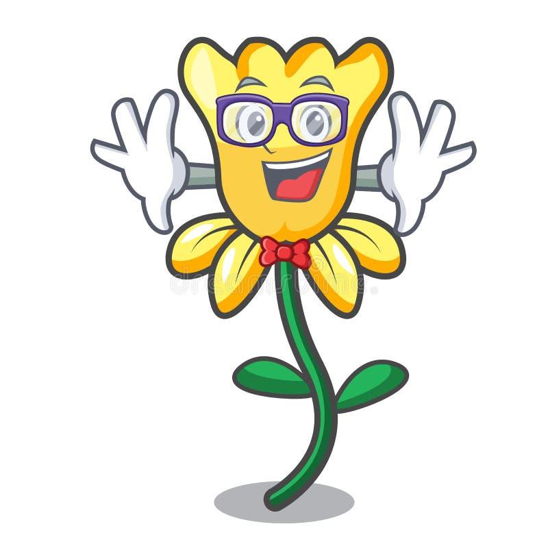 Κινούμενα σχέδια χαρακτήρα λουλουδιών Geek daffodil ελεύθερη απεικόνιση δικαιώματος
