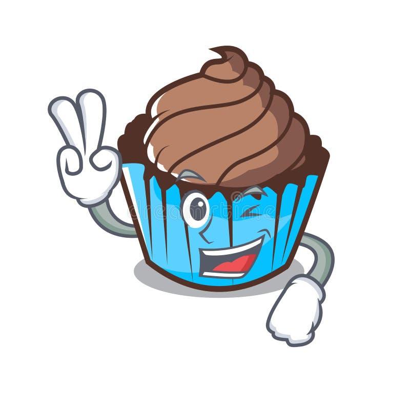 Κινούμενα σχέδια χαρακτήρα σοκολάτας δύο δάχτυλων cupcake απεικόνιση αποθεμάτων