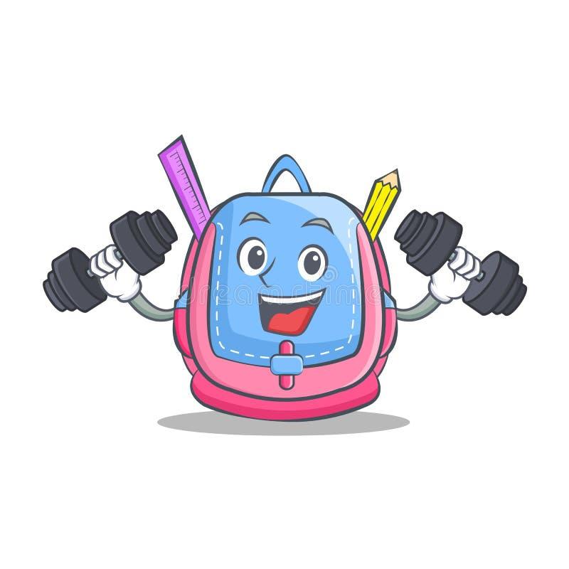 Κινούμενα σχέδια χαρακτήρα σχολικών τσαντών ικανότητας διανυσματική απεικόνιση