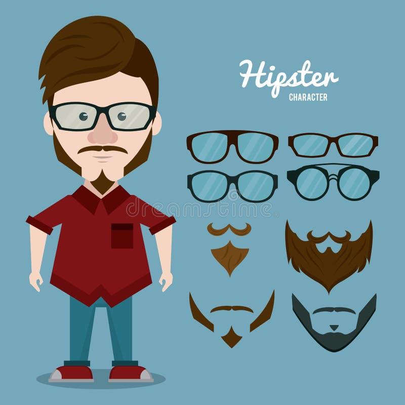 Κινούμενα σχέδια χαρακτήρα Hipster διανυσματική απεικόνιση