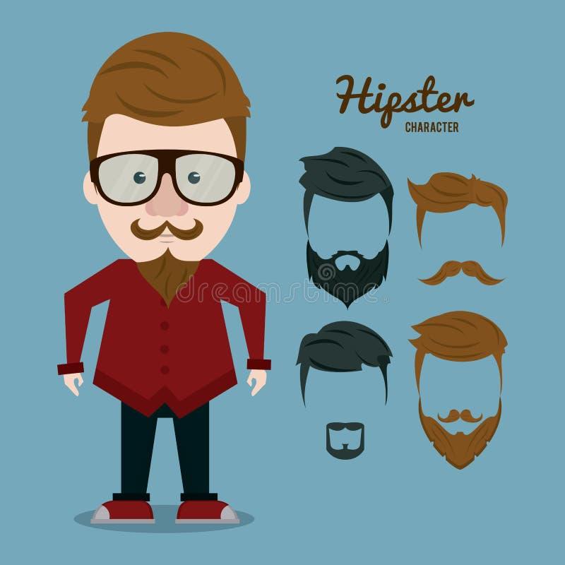 Κινούμενα σχέδια χαρακτήρα Hipster απεικόνιση αποθεμάτων