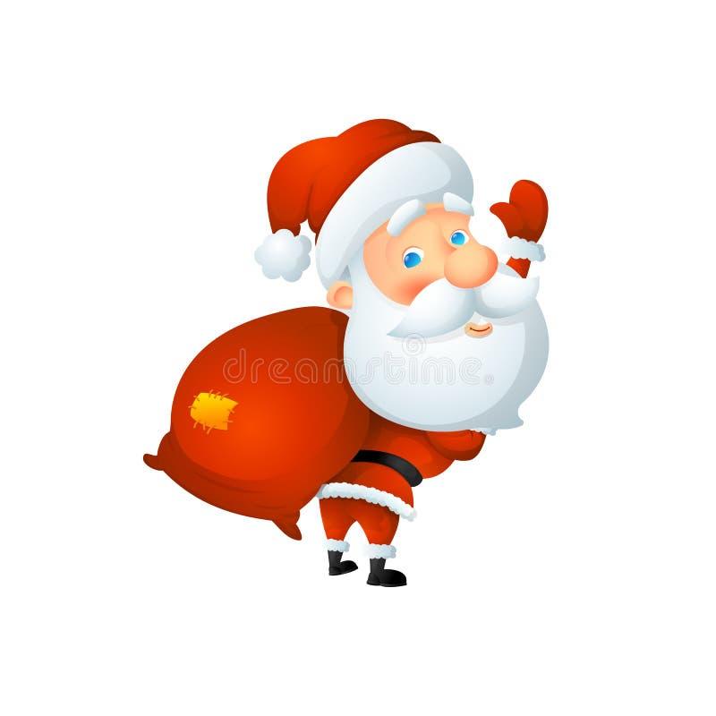 Κινούμενα σχέδια χαριτωμένος Άγιος Βασίλης που κυματίζουν με μια τσάντα των δώρων πίσω από την πλάτη του στοκ εικόνα με δικαίωμα ελεύθερης χρήσης