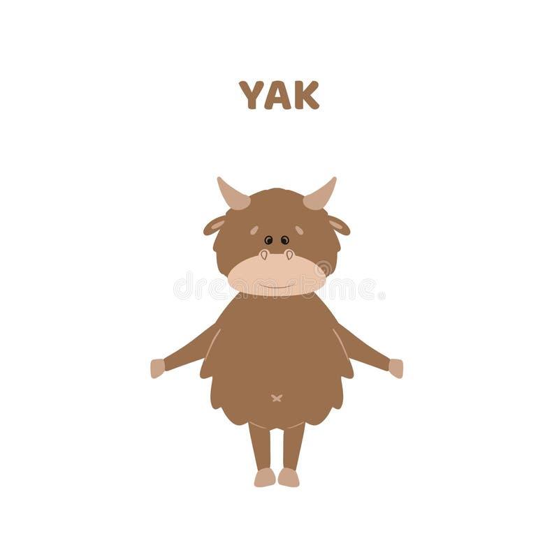 Κινούμενα σχέδια χαριτωμένο και αστείο yak διανυσματική απεικόνιση