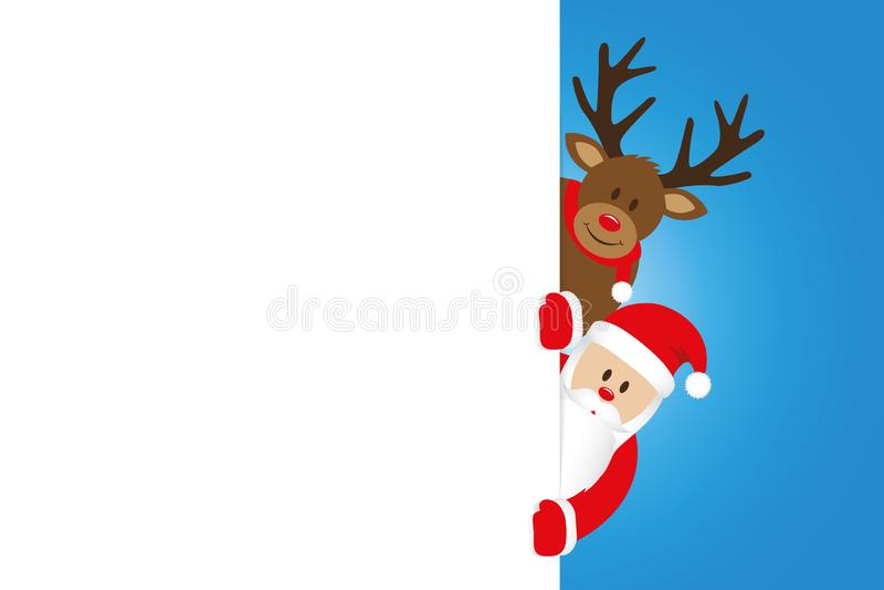 Κινούμενα σχέδια Χριστουγέννων Santa και ταράνδων με το άσπρο έμβλημα ελεύθερη απεικόνιση δικαιώματος