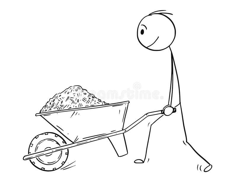 Κινούμενα σχέδια ωθώντας Wheelbarrow ατόμων με το χώμα, τη λάσπη, την άμμο ή την προστασία απεικόνιση αποθεμάτων