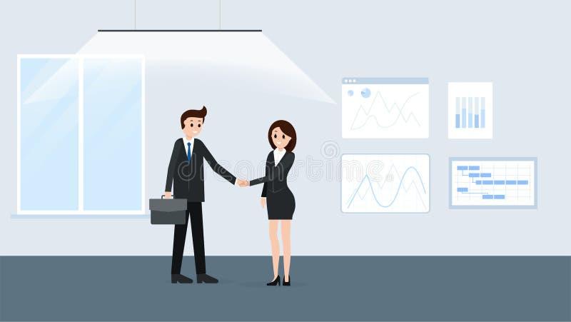 Κινούμενα σχέδια businesspeople στην αφίσα αιθουσών συνεδριάσεων ελεύθερη απεικόνιση δικαιώματος
