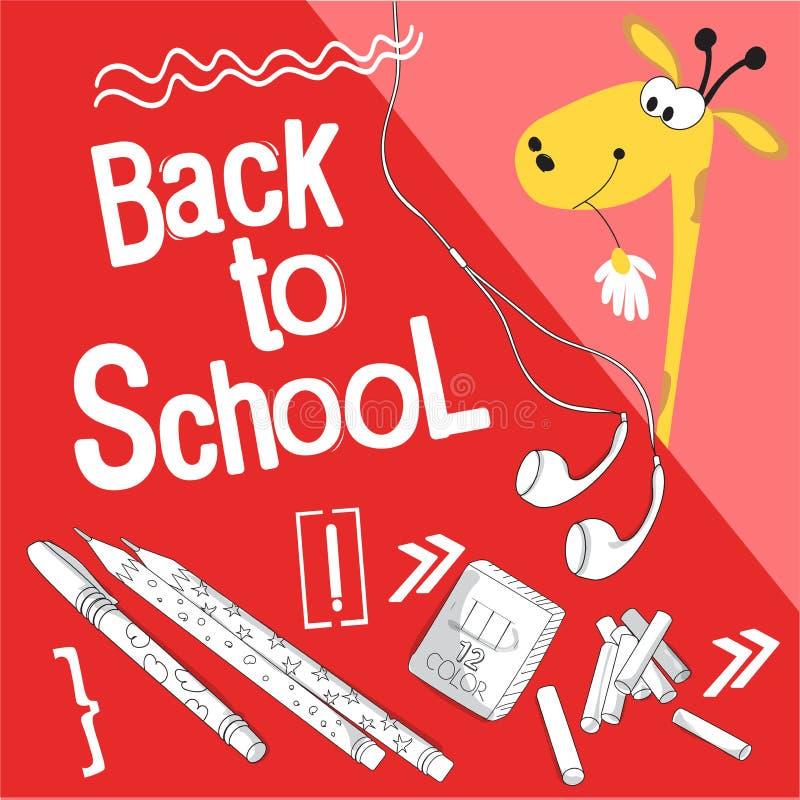 Κινούμενα σχέδια comics ύφους για το σχολείο Πίσω στη σχολική διανυσματική απεικόνιση Για τα πιό μικρά παιδιά Giraffe παίρνει το  διανυσματική απεικόνιση
