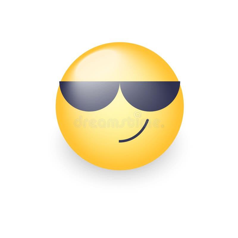 Κινούμενα σχέδια emoticon που φορούν τα μαύρα γυαλιά ηλίου Ευτυχές χαριτωμένο διανυσματικό emoji Smiley στα γυαλιά διανυσματική απεικόνιση