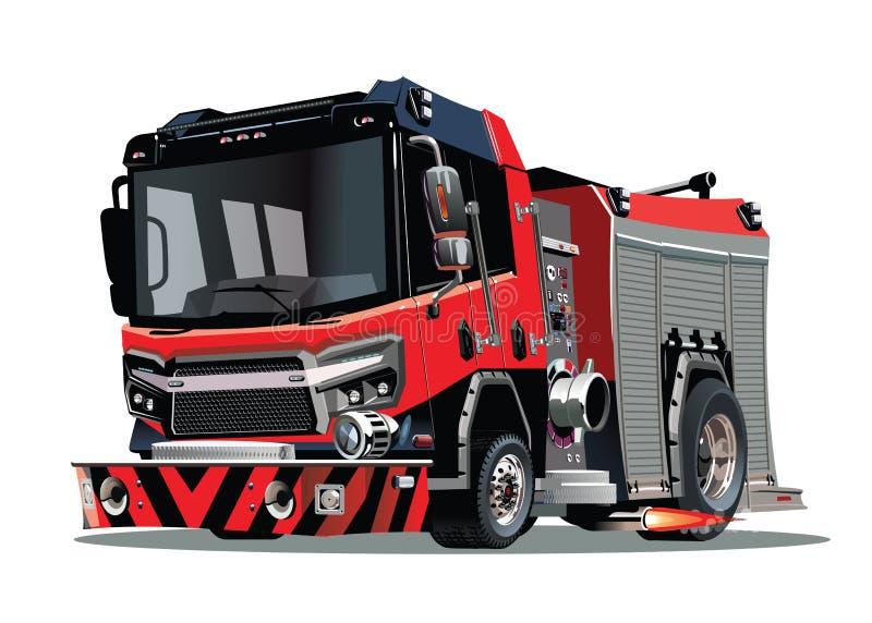 Κινούμενα σχέδια firetruck που απομονώνονται στην άσπρη ανασκόπηση διανυσματική απεικόνιση