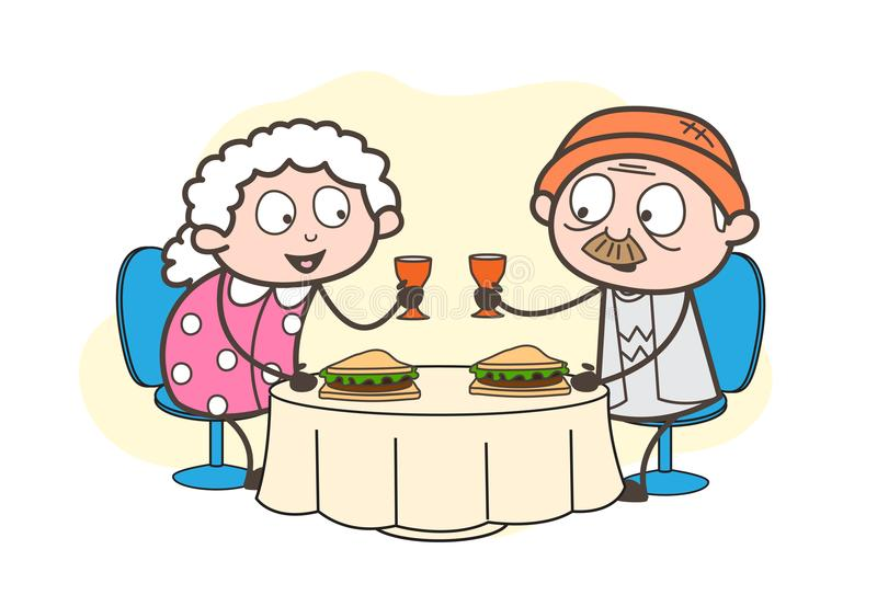 Κινούμενα σχέδια Grandpa και γιαγιά που γιορτάζει τη διανυσματική απεικόνιση 70ης επετείου τους διανυσματική απεικόνιση