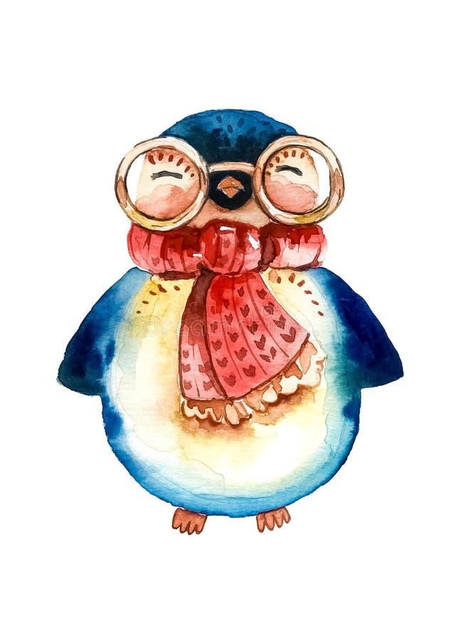 Κινούμενα σχέδια penguin στα στρογγυλά γυαλιά και ένα κόκκινο, θερμό μαντίλι Άσπρη ανασκόπηση ελεύθερη απεικόνιση δικαιώματος