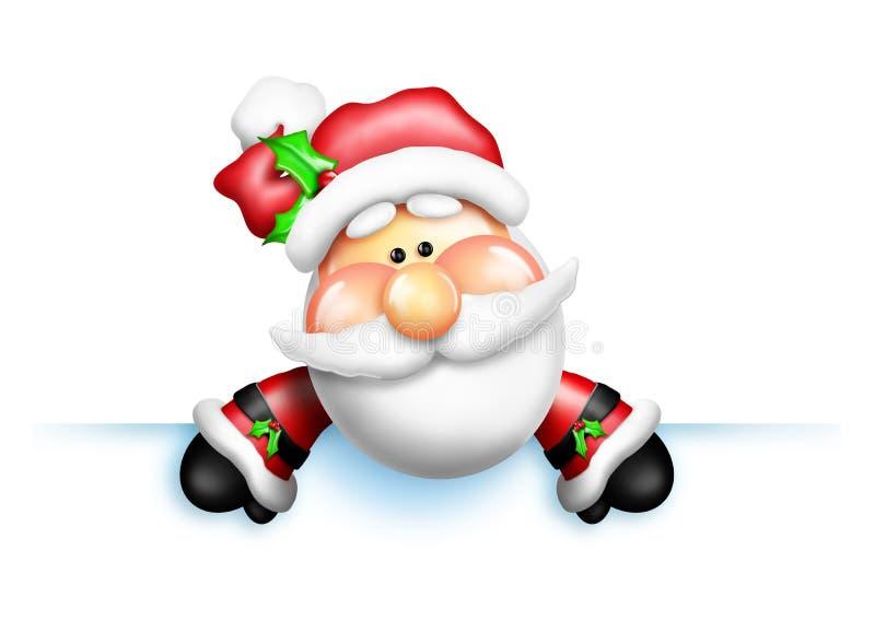 Κινούμενα σχέδια Santa που κλίνουν πέρα από την άκρη ελεύθερη απεικόνιση δικαιώματος
