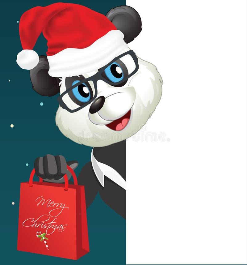 Κινούμενα σχέδια Santa Panda διασκέδασης που εξετάζουν μια κενή άσπρη σελίδα ελεύθερη απεικόνιση δικαιώματος