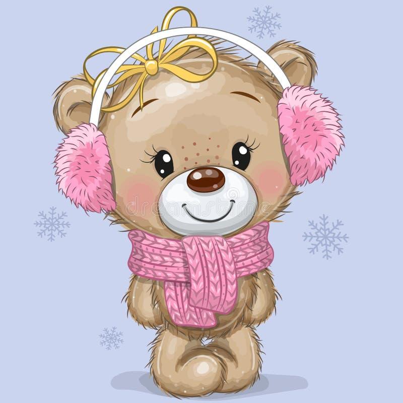 Κινούμενα σχέδια Teddy Bear με μαντίλα πλεκτής μαντίλας και γούνα σε μπλε φόντο απεικόνιση αποθεμάτων