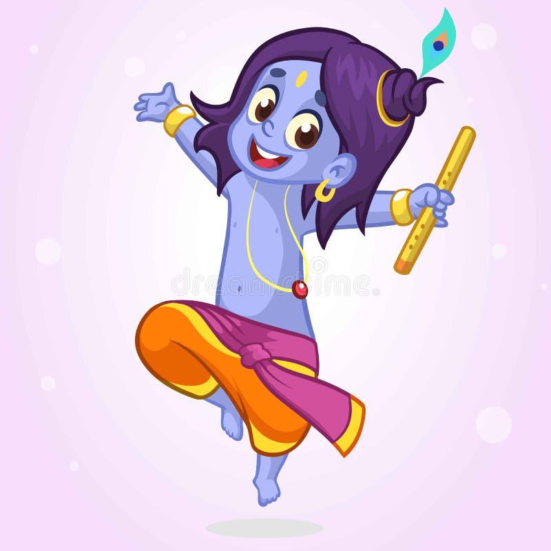 Κινούμενα σχέδια λίγο Krishna που χορεύει με ένα φλάουτο Διανυσματική απεικόνιση για την ημέρα Janmashtami φεστιβάλ γενεθλίων Kri διανυσματική απεικόνιση