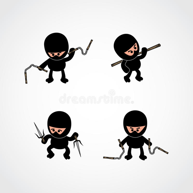 Κινούμενα σχέδια αγοριών Ninja απεικόνιση αποθεμάτων