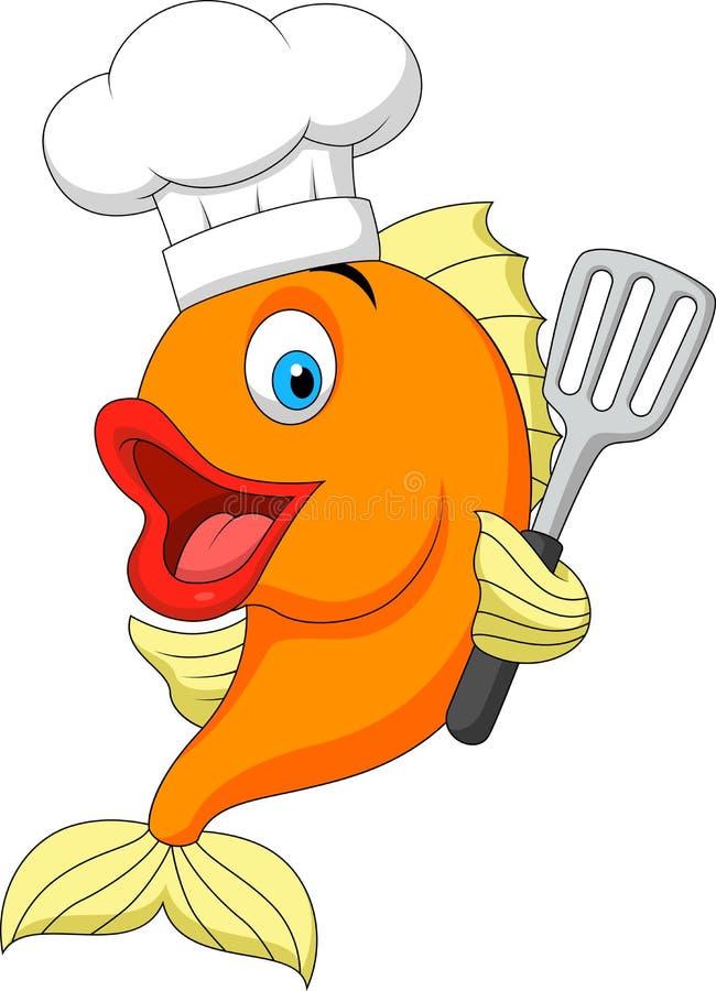 Κινούμενα σχέδια αρχιμαγείρων ψαριών διανυσματική απεικόνιση