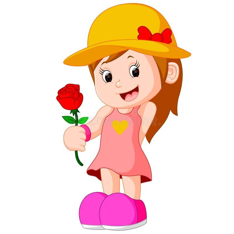 Κινούμενα σχέδια ενός κοριτσιού με ένα λουλούδι ελεύθερη απεικόνιση δικαιώματος