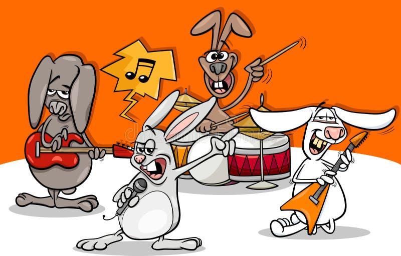 Κινούμενα σχέδια ζωνών μουσικής ροκ κουνελιών απεικόνιση αποθεμάτων