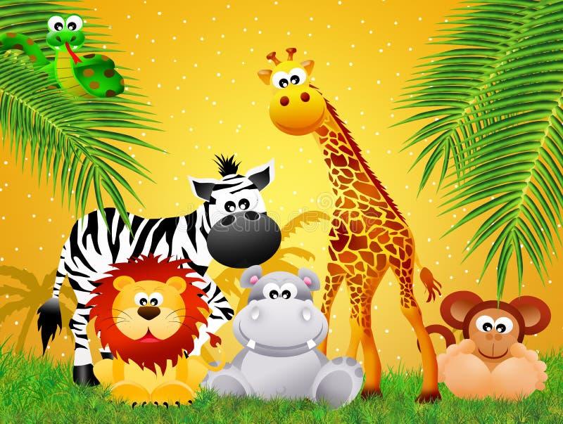 Κινούμενα σχέδια ζώων ζωολογικών κήπων διανυσματική απεικόνιση