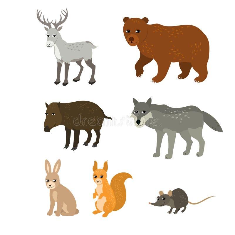 Κινούμενα σχέδια καθορισμένα: βόρειο ποντίκι σκιούρων κουνελιών λύκων κάπρων αρκούδων ελαφιών ελεύθερη απεικόνιση δικαιώματος