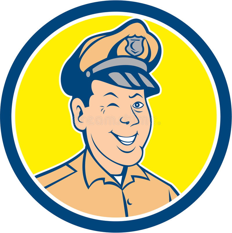 Κινούμενα σχέδια κύκλων χαμόγελου κλεισίματος του ματιού αστυνομικών διανυσματική απεικόνιση