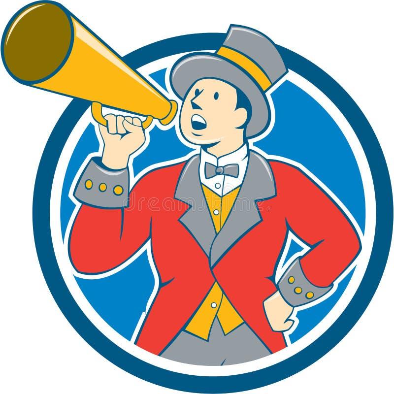 Κινούμενα σχέδια κύκλων Bullhorn παρουσηαστών προγράμματος τσίρκου τσίρκων ελεύθερη απεικόνιση δικαιώματος