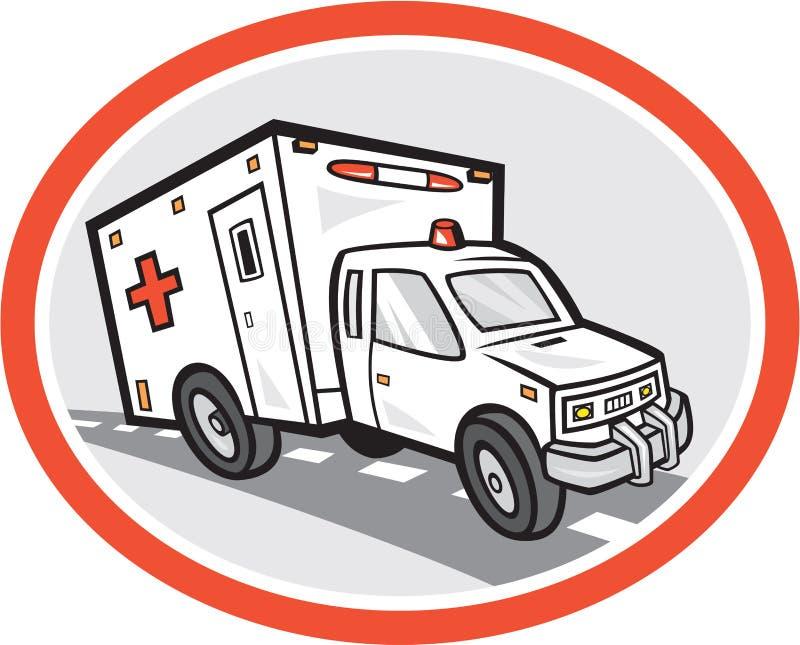 Κινούμενα σχέδια οχημάτων έκτακτης ανάγκης ασθενοφόρων διανυσματική απεικόνιση