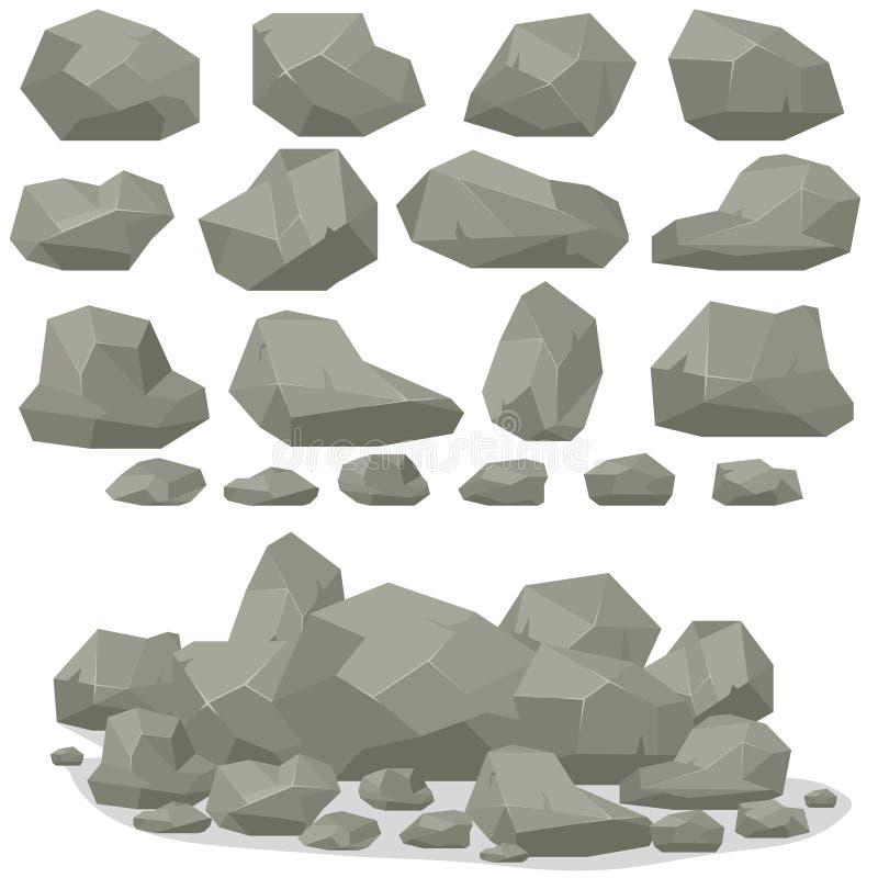 Κινούμενα σχέδια πετρών βράχου στο isometric τρισδιάστατο επίπεδο ύφος Σύνολο διαφορετικού απεικόνιση αποθεμάτων