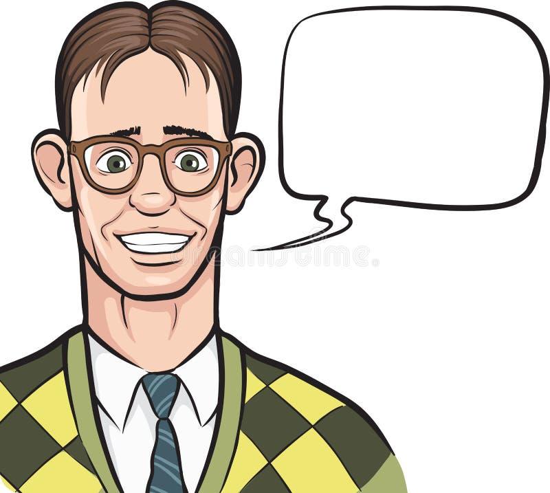 Κινούμενα σχέδια που χαμογελούν nerd με τη λεκτική φυσαλίδα ελεύθερη απεικόνιση δικαιώματος