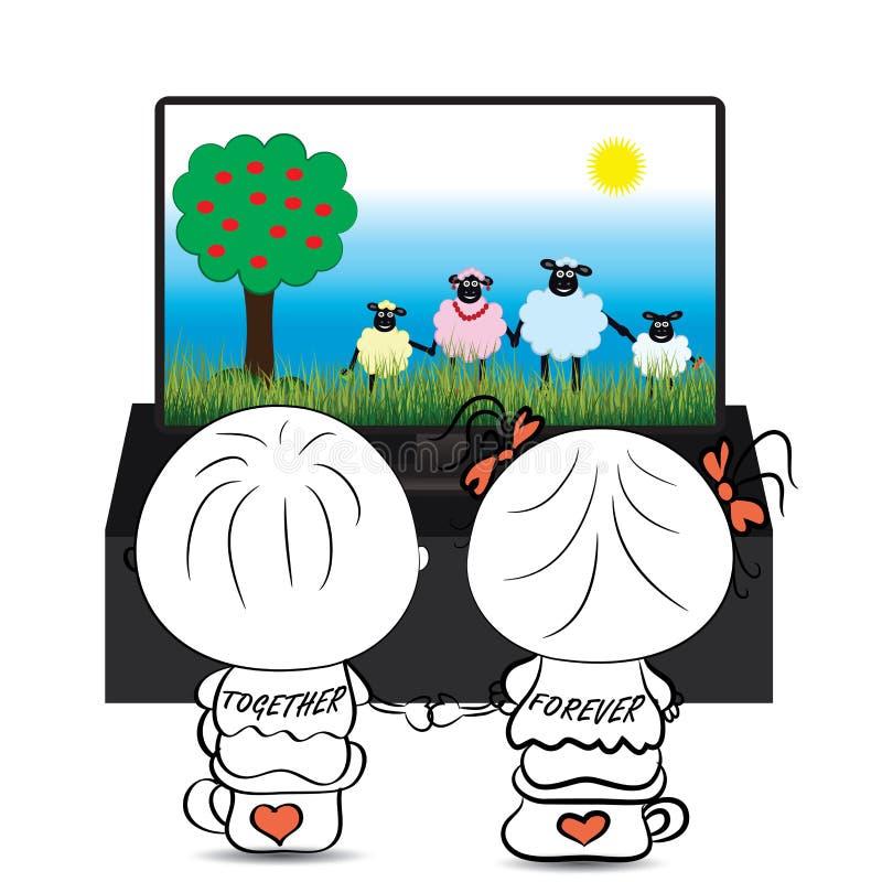 Κινούμενα σχέδια προσοχής αγοριών και κοριτσιών ζεύγους για τα χαριτωμένα πρόβατα στη TV ελεύθερη απεικόνιση δικαιώματος