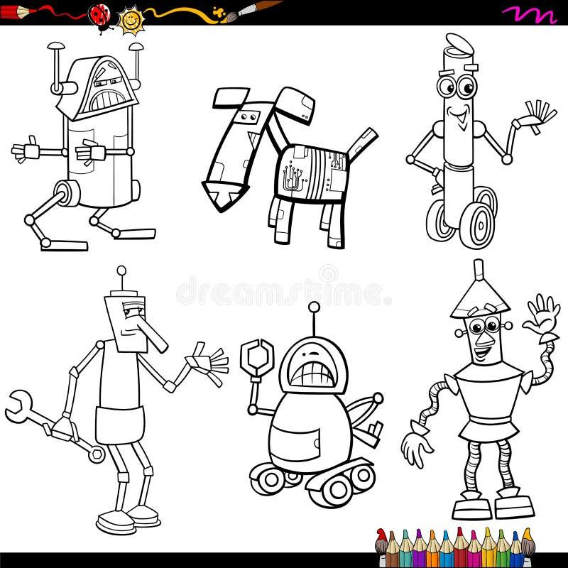 Κινούμενα σχέδια ρομπότ φαντασίας που χρωματίζουν τη σελίδα διανυσματική απεικόνιση