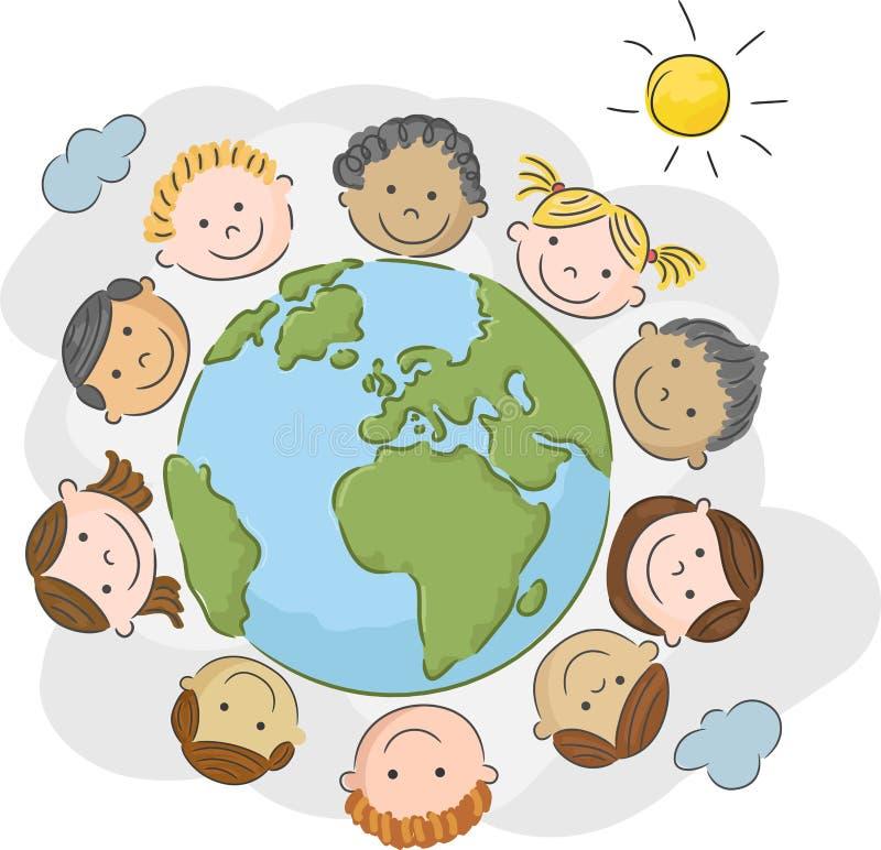 Κινούμενα σχέδια τα παγκόσμια παιδιά σε έναν κύκλο στον κόσμο διανυσματική απεικόνιση