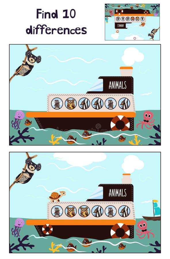 Κινούμενα σχέδια της εκπαίδευσης για να βρεί 10 διαφορές στις εικόνες των παιδιών της βάρκας με τα ζώα της άγριας ζούγκλας μεταξύ απεικόνιση αποθεμάτων