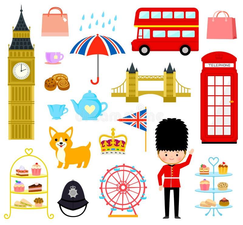 Κινούμενα σχέδια του Λονδίνου καθορισμένα απεικόνιση αποθεμάτων