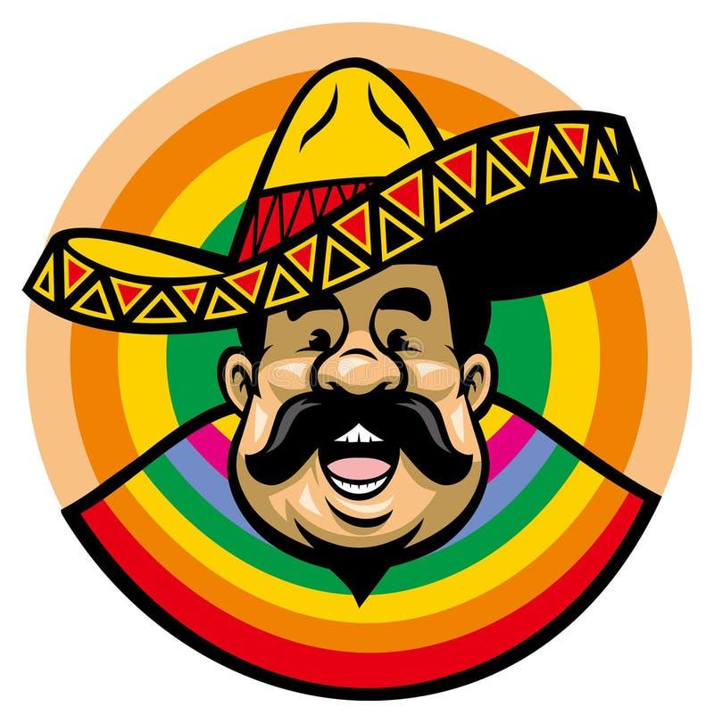 Κινούμενα σχέδια του χαμογελώντας μεξικάνικου ατόμου με το σομπρέρο ελεύθερη απεικόνιση δικαιώματος