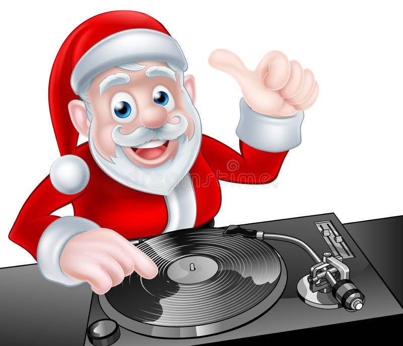 Κινούμενα σχέδια του DJ Santa διανυσματική απεικόνιση