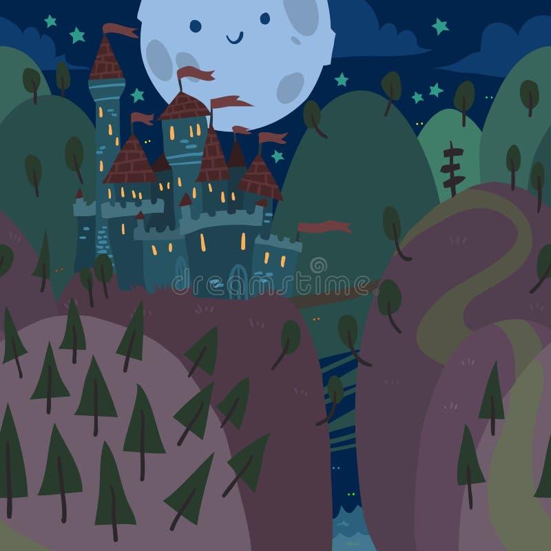 Κινούμενα σχέδια το επίπεδο Castle σε ένα Hill τη νύχτα διανυσματική απεικόνιση