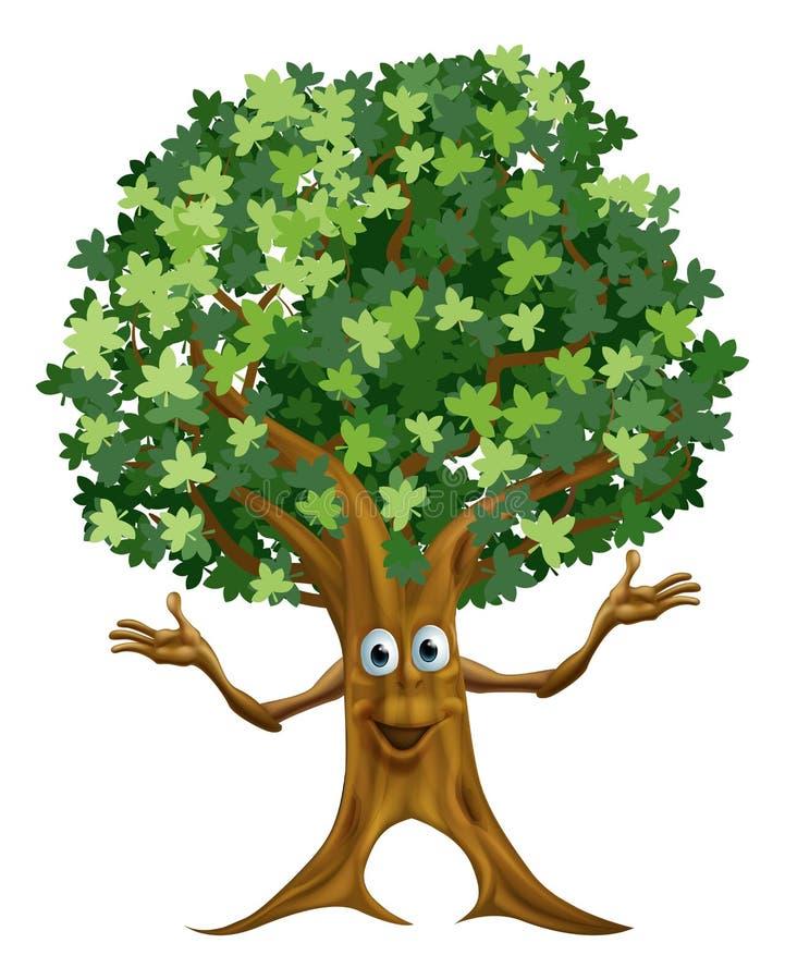 Κινούμενα σχέδια χαρακτήρα δέντρων διανυσματική απεικόνιση