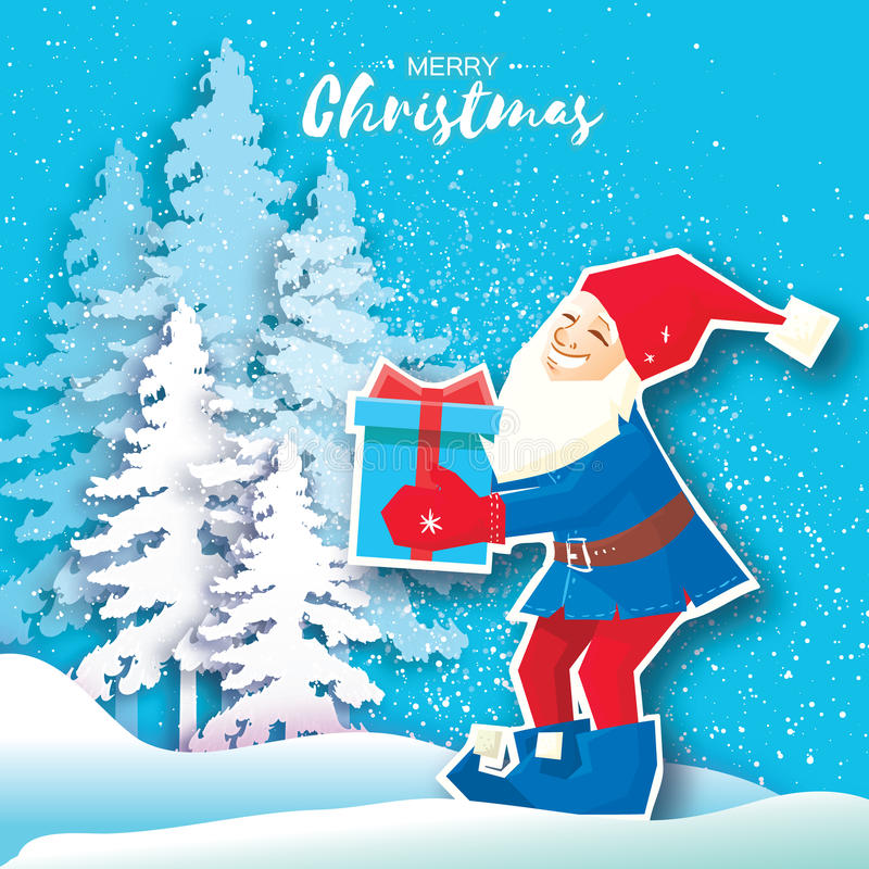 Κινούμενα σχέδια Χριστουγέννων Άγιου Βασίλη που κρατά ένα κιβώτιο δώρων με το τόξο Ευχετήρια κάρτα Χαρούμενα Χριστούγεννας περικο ελεύθερη απεικόνιση δικαιώματος