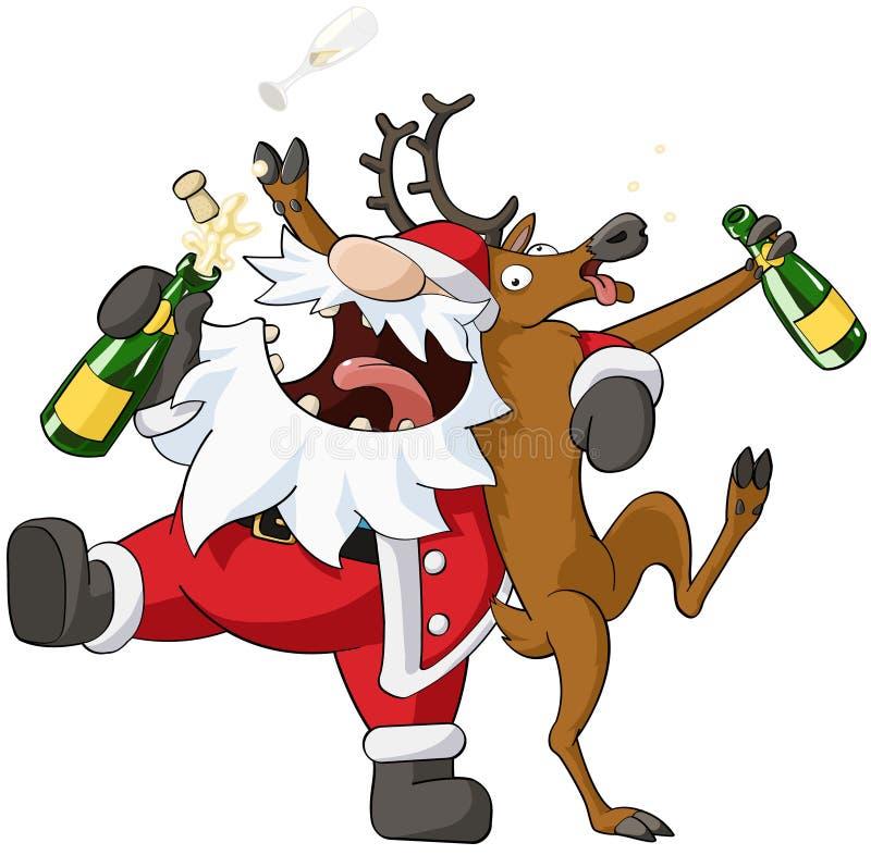 Κινούμενα σχέδια Χριστουγέννων κόμματος διανυσματική απεικόνιση