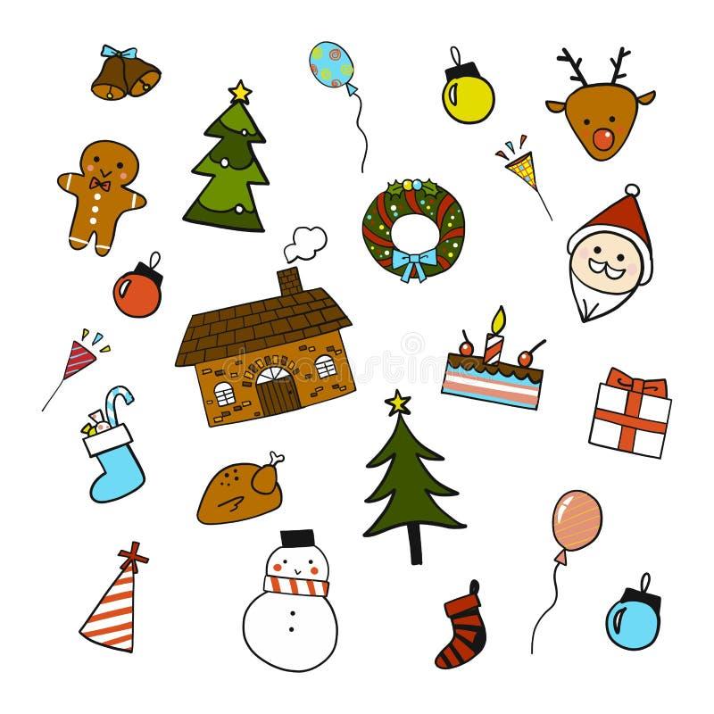Κινούμενα σχέδια Χριστουγέννων doodle στοκ φωτογραφίες