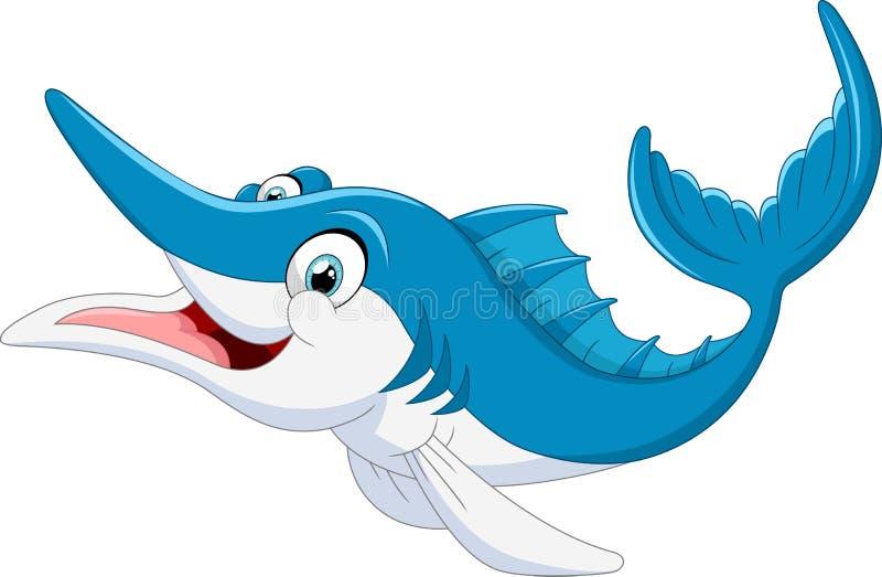 Κινούμενα σχέδια ψαριών μαρλίν διανυσματική απεικόνιση